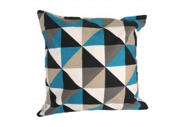 Coussin carrée forme géométrique bleue et taupe