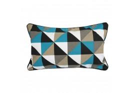 Coussin rectangulaire forme géométrique bleue et taupe