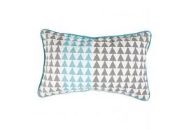 Coussin rectangulaire triangle gris et bleu